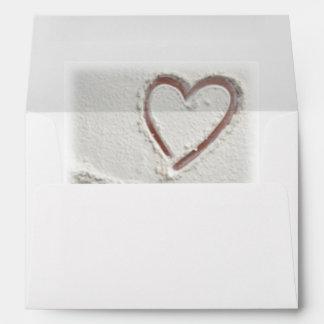 Beach Heart of Sand Wedding Envelope