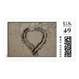 Beach Heart Postage Stamp