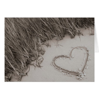 Beach Heart Sepia Card