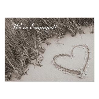 Beach Heart Sepia Engagement Announcement