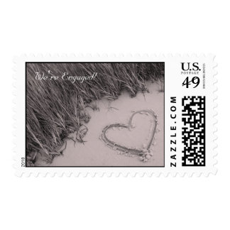 Beach Heart Sepia Engagement Announcement Postage