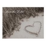 Beach Heart Sepia Save the Date Postcard