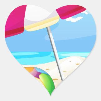 Beach Heart Sticker
