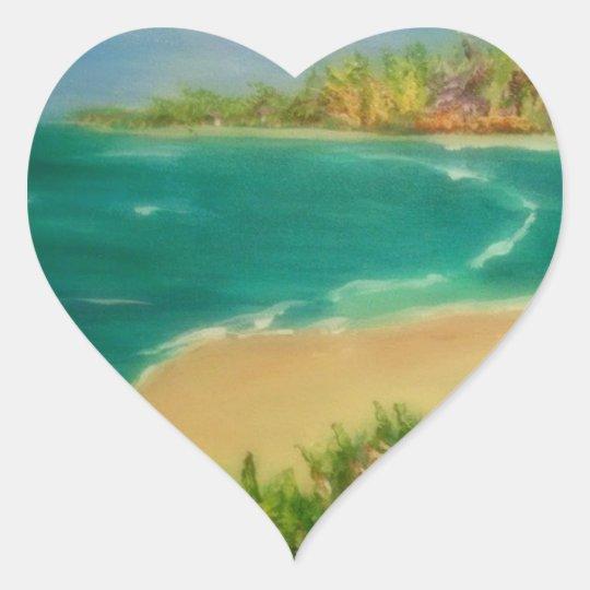 beach , heart sticker