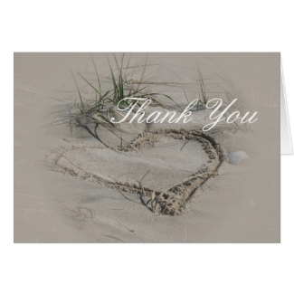 beach Heart Thank You Note Cards