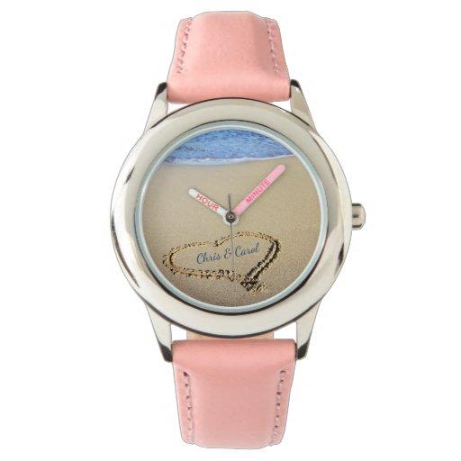 Beach Heart Watch with Custom Names