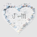 Beach Heart Wedding Favor Custom Stickers