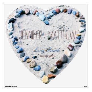 Beach Heart Wedding Gift Keepsake Personalized Wall Sticker