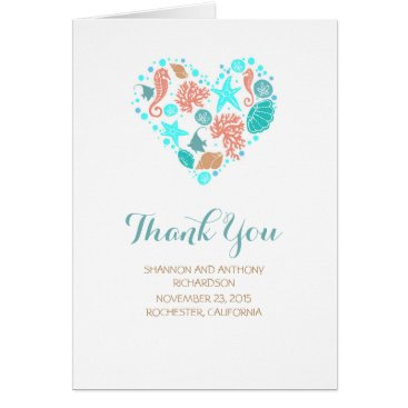 Beach Themed Beach Heart White Elegant Wedding Thank You Card
