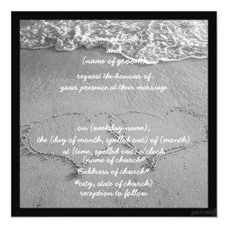 beach hearts bw Invitation