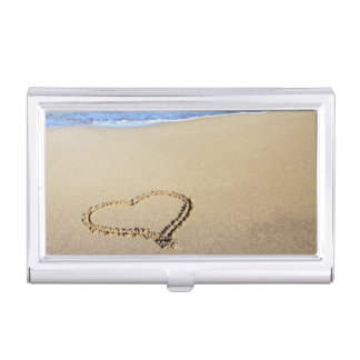 Beach Hearts In Sand Business Card Holder