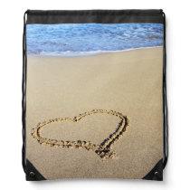 Beach Hearts In Sand Drawstring Bag