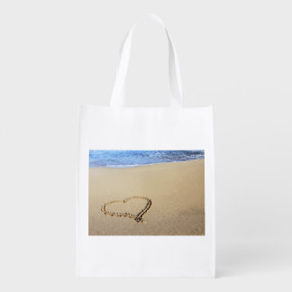 Beach Hearts In Sand Grocery Bags