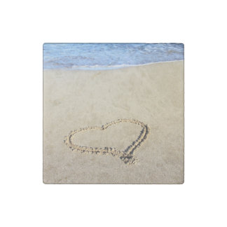 Beach Hearts In Sand Stone Magnet
