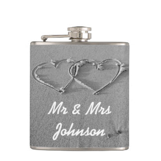 Beach hearts Mr and Mrs wedding drink flask