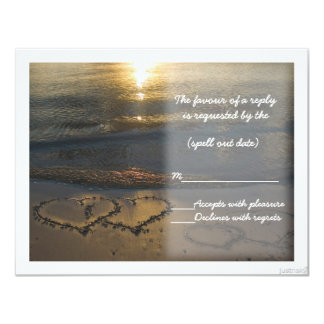 beach hearts sunrise rsvp 4.25x5.5 paper invitation card