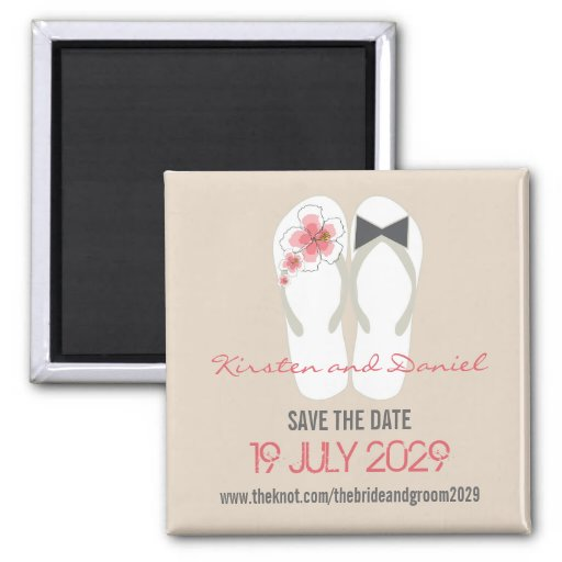 Beach Hibiscus Flip Flops Save The Date Wedding 2 Inch Square Magnet