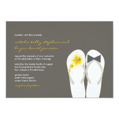 Beach Hibiscus Flip Flops Summer Wedding Invite at Zazzle