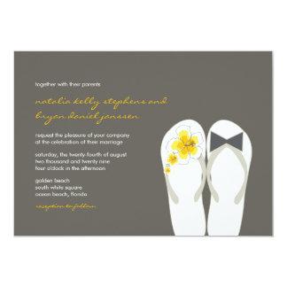 "Beach Hibiscus Flip Flops Summer Wedding Invite 5"" X 7"" Invitation Card"