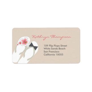 Beach Hibiscus Flip Flops Wedding Address Labels