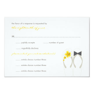 "Beach Hibiscus Summer Flip Flops Wedding RSVP Card 3.5"" X 5"" Invitation Card"