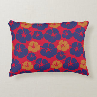 Beach Hibiscus Tropical Floral Accent Pillow