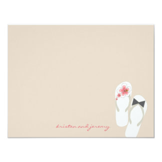 Beach Hibiscus Wedding Flip Flops Thank You Card