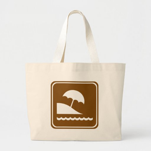 Beach Highway Sign Canvas Bags