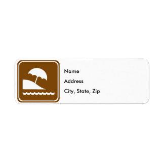 Beach Highway Sign Return Address Label