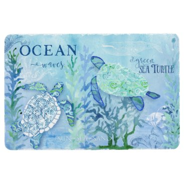 Beach Themed Beach Home Decor Watercolor Sea Turtles Pattern Floor Mat