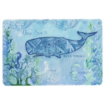 Beach Themed Beach Home Decor Whale Seahorse Octopus Watercolor Floor Mat