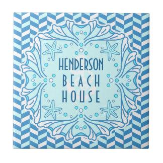 Beach House Art Deco Shell and Herringbone Custom Ceramic Tile
