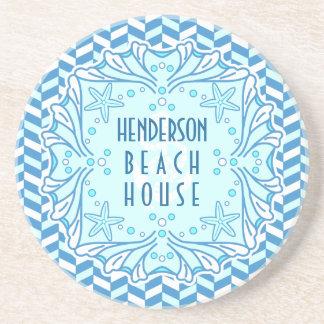Beach House Art Deco Shell and Herringbone Custom Coaster