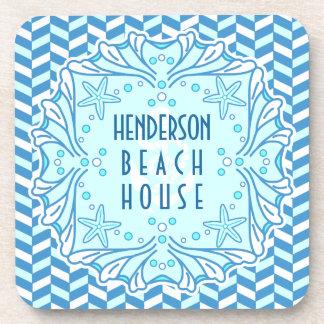 Beach House Art Deco Shell and Herringbone Custom Drink Coaster