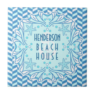 Beach House Art Deco Shell and Herringbone Custom Small Square Tile