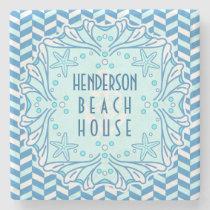 Beach House Art Deco Shell and Herringbone Custom Stone Coaster