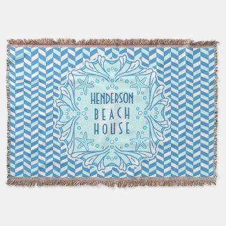 Beach House Art Deco Shell and Herringbone Custom Throw Blanket