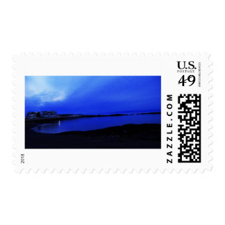 Beach House at Dusk Postage Stamp