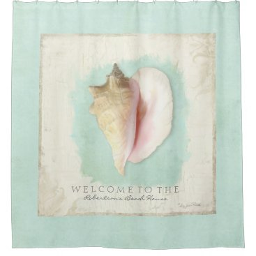 LuxuryWeddings Beach House Bathroom Personalized Welcome Conch Shower Curtain