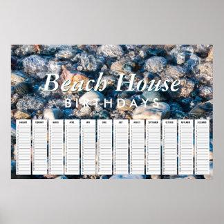 Beach House Beach RocksPerpetual Birthday Calendar Poster