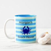 Beach House Blue Crab Personalized Coffee Mug