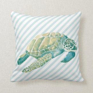 Beach House Blue Green Sea Turtle Pillow