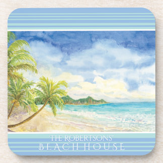 Beach House Coastal Beach Tropical Island Palm Art Coaster