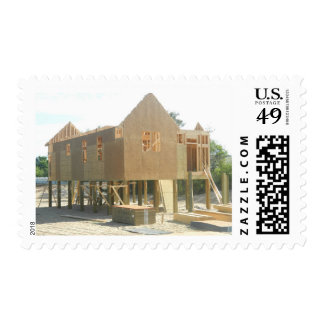 Beach House Construction Postage