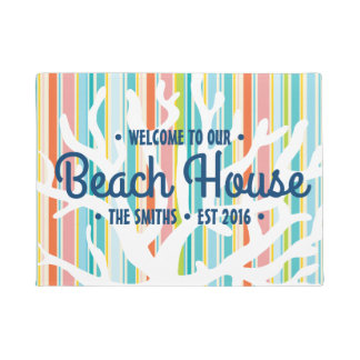 Beach House Coral Stripes Door Mat
