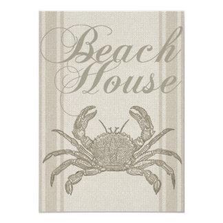 Beach House Crab Sandy Coastal Decor 4.5x6.25 Paper Invitation Card