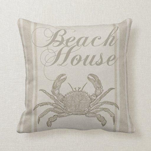 Beach House Crab Sandy Coastal Decor Throw Pillow Zazzle