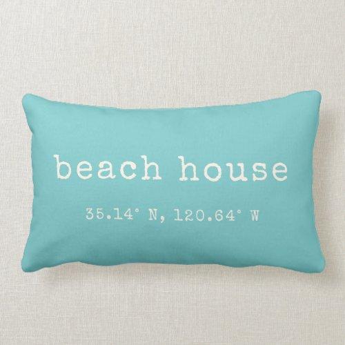 Beach House Custom Coordinates Throw Pillow