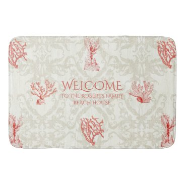 Beach Themed Beach House Family Name Welcome Sign Coral Damask Bath Mat