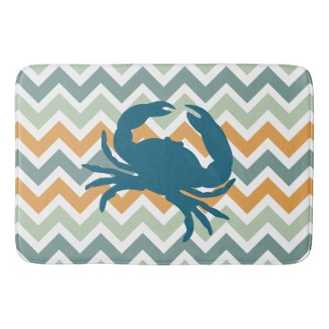 Beach Themed Beach House Home Decor Crab Chevron Bathroom Mat